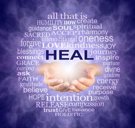 Circle of Healing Words Tag Cloud - female cupped hands with the word HEAL above surrounded by a circle of healing words on an intricate purple vortex background