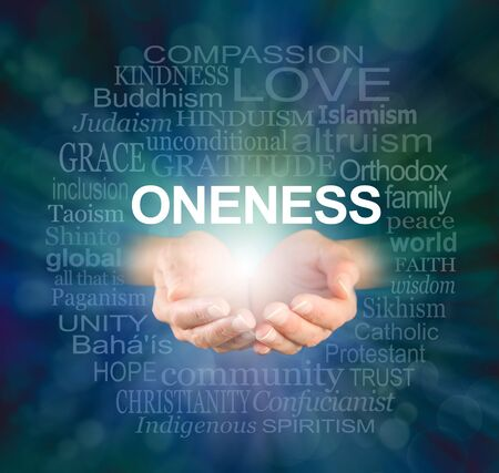 ONENESS word tag cloud - female hands offering a ONENESS word cloud against a dark blue green radiating vignette background