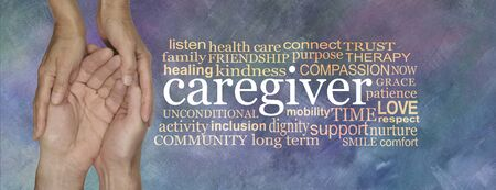 Thank you to all the caregivers word cloud banner - female hands gently cupped around male cupped hands beside a CARE GIVER word tag cloud on a rustic purple blue oil painted background