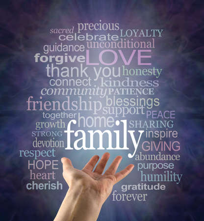 Family Matters Word Tag Cloud - female open palm hand with the word FAMILY floating above surrounded by a relevant word cloud against a dark blue background
