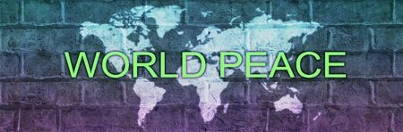 Together we can Achieve World Peace campaign banner - blue and purple graduated brick wall background with a world map and the words WORLD PEACE across the middle with copy space