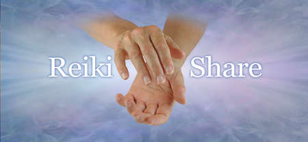 Come and Join our Reiki Share Concept header - female cupped hands with the words REIKI SHARE either side on a pale blue background