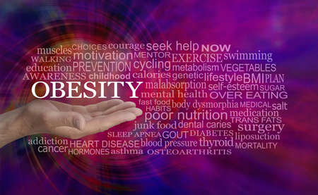 OBESITY spiralling out of control Word Cloud - male open palm hand with the word obesity  floating above surrounded by a relevant word cloud against a vibrant spiralling modern abstract  background