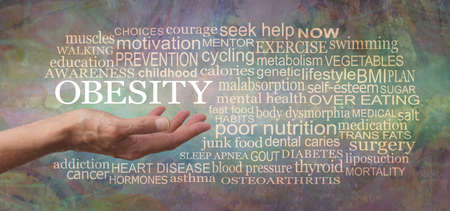 OBESITY Word Tag Cloud - female open palm hand with the word obesity  floating above surrounded by a relevant word cloud against a rustic grunge modern abstract  background Banque d'images