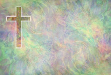 Symbolic Religious Cross Multicoloured background message board - textured pastel coloured background with a cross in top left corner and copy space
