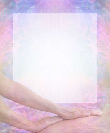 Massage therapist's background message board - faded female hands gliding up a man's back with a burn out white square area for message against a blue pink pattern background