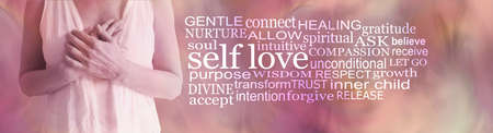 Divine Feminine Self love word cloud - torso of female holding hands over heart against a flesh coloured background with a SELF LOVE word cloud to the right side