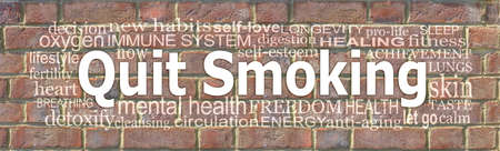 Words Associated with quitting smoking word cloud - Brick wall background with a QUIT SMOKING word cloud Banque d'images