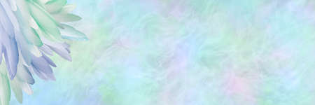 Beautiful pastel coloured ethereal feather corner message background banner - multicoloured neat pile of feathers in left corner and wide copy space with misty ethereal energy formation background