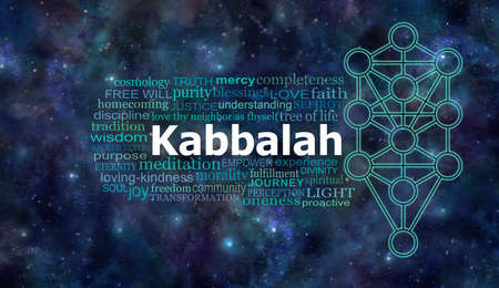 Kabbalah Tree of Life Cosmic Word Cloud - Kabbalah Tree of Life outline symbol beside a relevant word cloud against a cosmic deep space background Archivio Fotografico