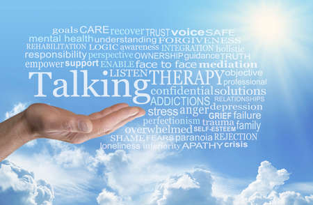 Words associated with Talking Therapy Word Cloud - man's open palm hand with the word TALKING above surrounded by a TALKING word cloud against a blue sky and sunshine background with fluffy clouds