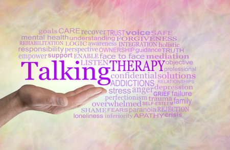 Words associated with Talking Therapy Word Cloud - man's open palm hand with the word TALKING above surrounded by a TALKING word cloud on a yellow pink background