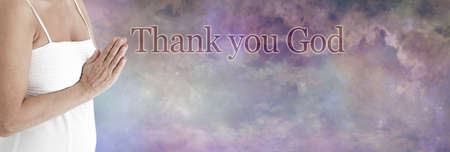 Thank you God Message Banner - female hands in prayer position beside the words THANK YOU GOD against a beautiful celestial cloudscape background with copy space