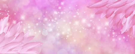 Pink bokeh Feather Corner Message background - pile of long pink coloured feathers in bottom right and top left corners and central message area with sparkles and bokeh