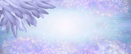 Lilac Angel Feather Message Banner Background - a pile of long lilac coloured feathers in left corner and wide message area with pale pink and blue sparkly border and empty copy space area in middle Zdjęcie Seryjne - 160002030