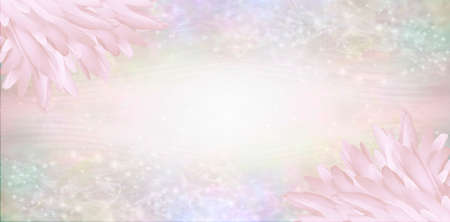 Pink Angel Feather Message Banner Background - a pile of long pink coloured feathers in top left and bottom right corners and wide message area with multicoloured sparkly border and copy space