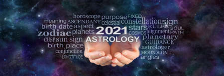 Your 2021 ASTROLOGY is written in the Stars - wide night sky deep space dark background with a pair of female hands cupped underneath the words 2021 ASTROLOGY  surrounded by a word cloud