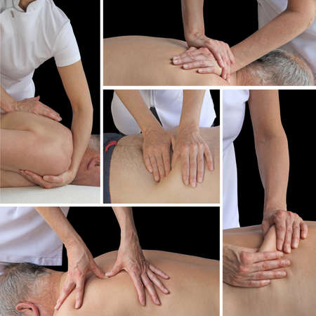 Sports Massage Therapy Collage - Five different views of a female sports massage therapist using different massage techniques on male client against a black background