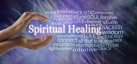 Words associated with Spiritual Healing Word Cloud  -  female hands cupped around the words SPIRITUAL  HEALING surrounded by a relevant tag cloud against an ethereal blue feather background Zdjęcie Seryjne