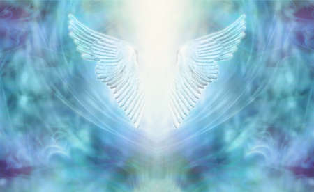 High Resonance Turquoise Blue Angel Wings Spiritual Background - blue and purple ethereal background with a pair of Angel Wings in the centre and a shaft of bright light between with copy space Stockfoto