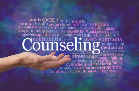 Words Associated with Counselling Word Cloud - female therapist with open palm and the word COUNSELING floating above surrounded by relevant words on a dark blue green modern abstract background Zdjęcie Seryjne