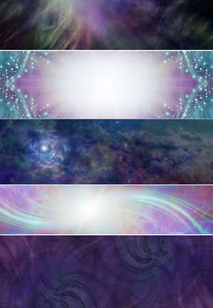 5 different Spiritual Banner heads - a selection of five wide website headers with ethereal feathers, shimmering sparkles, cosmic space and healing light trails Zdjęcie Seryjne