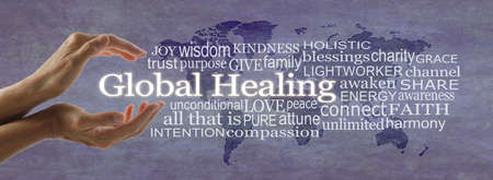 Global healing word cloud map campaign banner - female hands cupped around white words GLOBAL HEALING surrounded by  a word cloud on a rustic purple world map background Zdjęcie Seryjne - 161397527