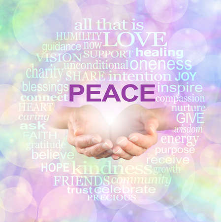 Words associated with Peace Campaign Word Cloud - Female hands emerging from rainbow coloured bokeh background surrounded by  a circular PEACE word cloud Zdjęcie Seryjne