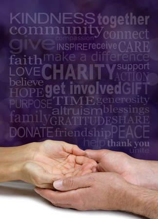 Words associated with Charity and Sharing Word Cloud - female hands cupped in male hands beneath a pale CHARITY word cloud against purple bokeh background Zdjęcie Seryjne