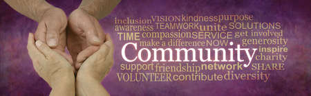 Careworker in the Community Campaign Word Cloud - female hands holding male cupped hands beside a  COMMUNITY word cloud against a rustic stone effect warm purple red  background