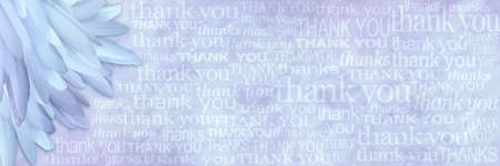 Angelic thank you lilac blue feathers background -  wide wispy pastel blue background with a pile of long slim feathers in the left corner and many different size and fonts saying thank you and thanks