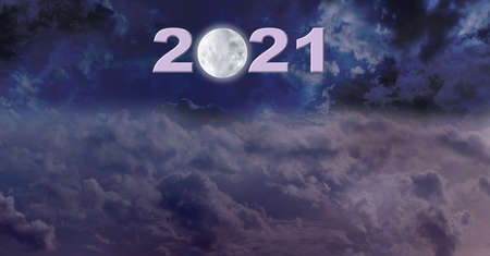 First moon in 2021 Website Header - dark night sky deep space banner with a bright glowing moon replacing  the zero in 2021 and plenty of copy space on either side and below for messages
