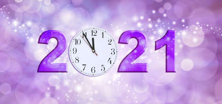 Nearly Happy New Year 2021 - a clock face showing 11.55 making the 0 of 2021 on a sparkling purple bokeh background