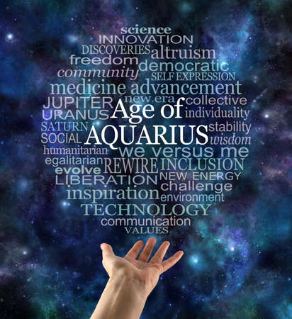 Cosmic Astrological Age of Aquarius Word Cloud - a circular word cloud relevant to the new era of Aquarius against a dark blue night sky celestial with a hand reaching up to the  word bubble