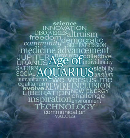 Words Associated with The Age of Aquarius Word Cloud - a circular word cloud relevant to the new era of Aquarius against a flowing watery dark blue green purple mystical ethereal  background with copy