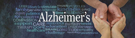 Words Associated with Careworkers and Alzheimer's - female hands gently cupped around male hands beside an  ALZHEIMER'S word cloud on a dark rustic background
