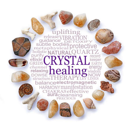 Beautiful Earth Crystals Circular Crystal Healing word cloud - a circle of earth coloured crystals and sea shells framing a CRYSTAL HEALING word cloud on a white background