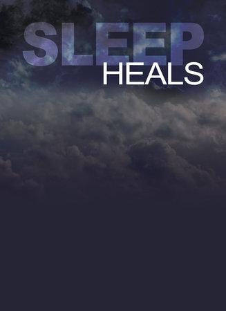 Sleep heals background - dark night cloudy background with the words SLEEP HEALS and copy space beneath
