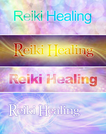 4 different Reiki Healing Banner Heads - four wide multicoloured banners each with the words REIKI HEALING and copy space