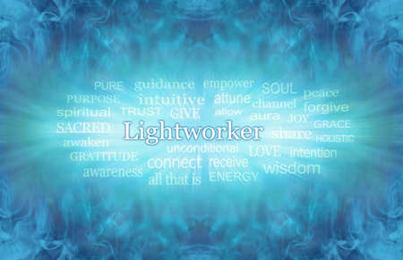 Zooming Lightworker Word Tag Cloud - Water wispy turquoise blue background with a zooming outward LIGHTWORKER word cloud