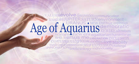 Words associated with the Age of Aquarius Word Cloud - female hands cupped around the words AGE OF AQUARIUS beside a word cloud relevant to the new era of Aquarius against a pink flowing vortex spiral Zdjęcie Seryjne