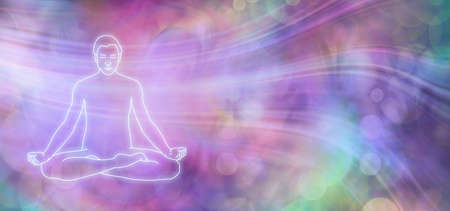 Allow thoughts to flow Meditation Banner  - multicoloured bokeh background with flowing lines depicting thoughts and glowing outline of male in seated meditating mindfulness lotus position