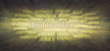 Angelic Golden Lightworker Word Tag Cloud - Brown to gold graduated background with a LIGHTWORKER word cloud zooming from the centre