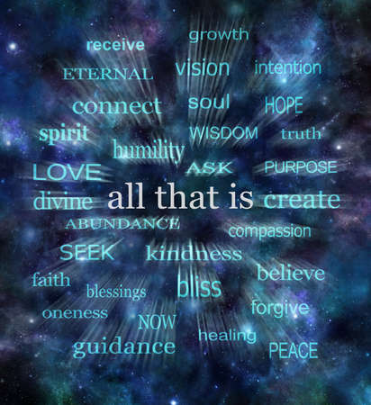 Cosmic All That Is - Dark blue deep space night sky starry background with a zooming ALL THAT IS word cloud for spiritual mindfulness purposes