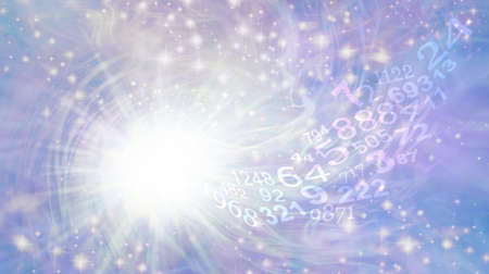 Numerology Vortex Ethereal Background - Bright white light burst rotating star with sparkles on ethereal pastel blue purple with a flow of random numbers spiraling towards the white light
