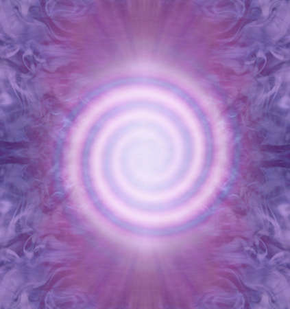 Double Fibonacci Spiral Spiritual Background - perfect form pink clockwise and anticlockwise Fibonacci spirals on a symmetrical purple magenta background with copy space
