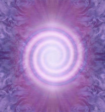 Double Fibonacci Spiral Spiritual Background - perfect form pink clockwise and anticlockwise Fibonacci spirals on a symmetrical purple magenta background with copy space Zdjęcie Seryjne - 163508126