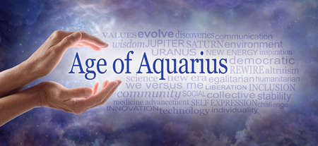 Words associated with Embracing the New Age of Aquarius Word Cloud - female hands cupped around the words AGE OF AQUARIUS beside a relevant word cloud against a blue cosmic night sky background