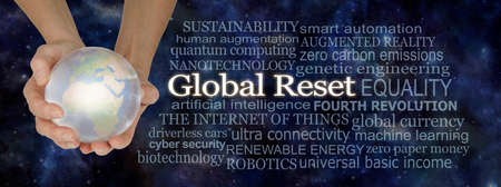 Looking ahead at the Great Reset - hands holding large crystal ball with planet earth inside beside a GLOBAL RESET word cloud against a dark blue deep space night sky background