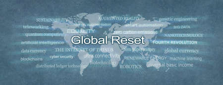 Words associated with the Global Reset - rustic mono blue flat map of planet earth surrounded by a GLOBAL RESET zooming word cloud
